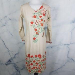 Boho Gypsy Floral Embroidered Kaftan